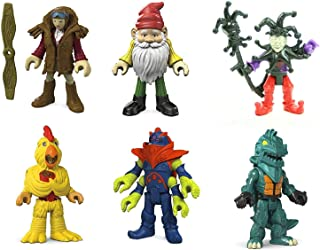 Set of 6: Fisher-Price Imaginext Blind Bag Collectible Figures Series 6 - Dino Mech, Chicken Suit, Gnome, Jester, Pilot, Alien