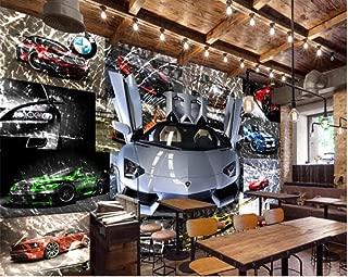 CCJNN Wallpaper for Walls 3 D Professional High-End 3D Stereo Car Sports Car Broken Glass Mural Wallpaper Background Wall 400X280Cm
