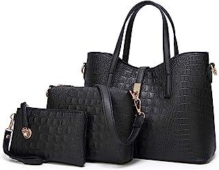 FADPRO النساء حقائب الكتف حمل حقيبة هوبو حقائب 3 قطع محفظة مجموعة