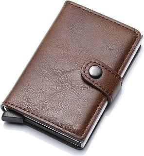 Credit Card Holder RFID Blocking Genuine Leather Vintage Aluminum Business Wallet