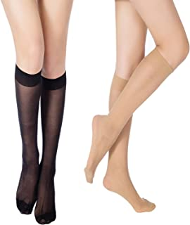 Women's 6 Pairs(70 Den) or 12 Pairs(20 Den) Ultra-Soft Knee High Socks