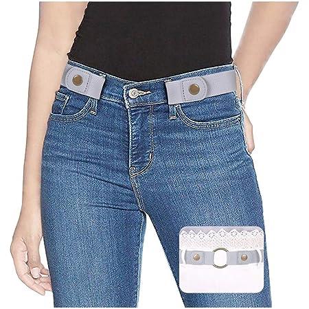 Linkook G/ürtel F/ür Damen Herren Ohne Schnalle Unsichtbarer Schnallenfrei Elastischer Dehnbarer Taillen G/ürtel Jeans Hosen Einstellbar