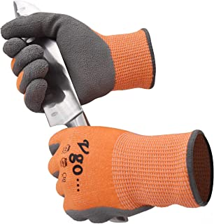 Vgo 10Pairs ANSI Level 3 Cut Resistant Gloves Certified Hand Protection, Latex Rubber Coated Gardening and Work Gloves(Size XL,Orange,RB2148HY)