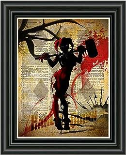 Harley Quinn art print, splatter art, superhero decor,cool pop art, vintage dictionary art print
