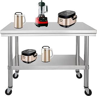 comprar comparacion Moracle Mesa de Trabajo de Cocina Profesional Mesa de Trabajo de Cocina de Acero Inoxidable con Ruedas (76x61cm)