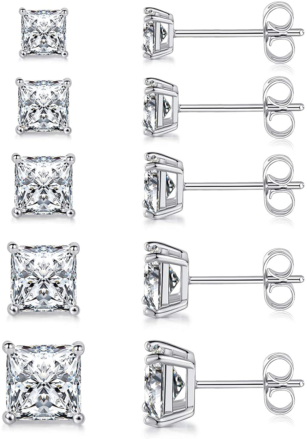 MDFUN 18K White Gold Plated Princess Cut Clear Cubic Zirconia Stud Earring Pack of 5 Pairs