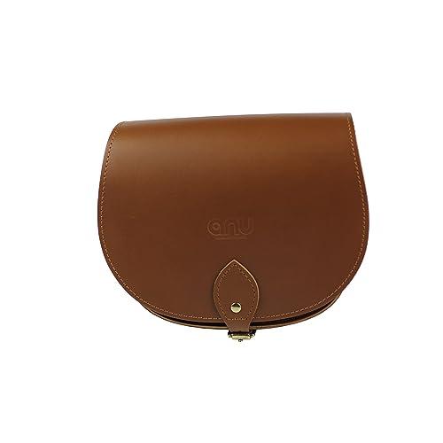 f03c602a385d ANU® SW9 ☆Genuine Leather Ladies Saddle Satchel Handbag in British Satchel  Style ☆Handmade
