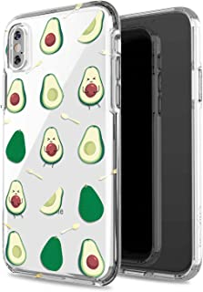 JIAXIUFEN iPhone X Case Clear iPhone Xs Case Girls Women Floral Heavy Duty Protective Hard PC Back Case Shockproof Slim Soft TPU Bumper Silicone Cover Phone Case for iPhone X XS - Avocado Beige