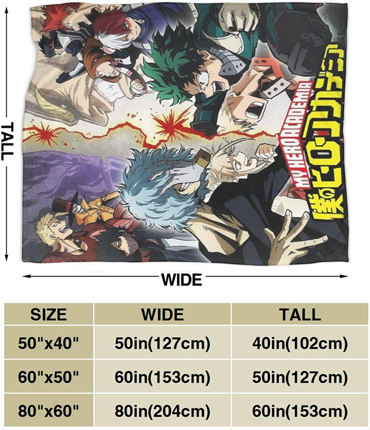 My Hero Academia Blanket Cartoon Kids Plush Throw Flannel Blanket,Soft Warm Fuzzy Bedroom Blanket Plush Sheet for Bed Couch Chair Living Room My Hero Academia 1, 50x40