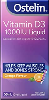 Ostelin Vitamin D3 1000IU Liquid - Maintains bone and muscle strength - Helps boost calcium absorption, Orange, 50 mL