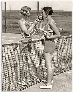 Bad Girls Smoking on Tennis Court - 11x14 Unframed Art Print - Makes a Great Vintage Home Decor Under $15