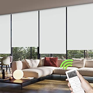 Yoolax Motorized Window Roller Shades Blinds Wireless Remote Control Blackout Fabric Shades for Home and Office Customized (White)