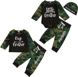 ملابس أطفال رضيع رضيع أخ مطابقة للأخ الأكبر ليتل براذرز رومبير الأعلى + سراويل تمويه + قبعة 3 قطع مجموعة الملابس