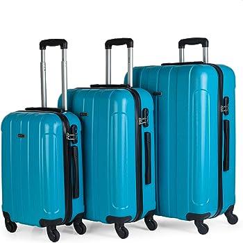 Tama/ños: Peque/ña y Mediana Calidad Color Azul 171015 Duras Resistentes y Ligeras Asas Candado TSA Ideal para Estrudiante JASLEN Juego Maletas R/ígidas 4 Ruedas Trolley ABS
