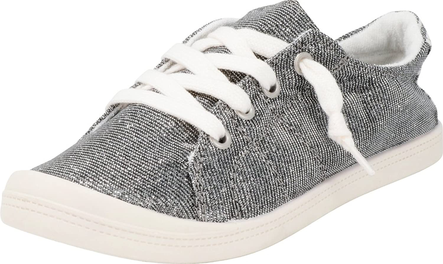 Cambridge Select Women's Low Top Closed Round Toe Slip-On No Tie Stretch Elastic Lace Fashion Sneaker