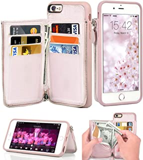 LAMEEKU iPhone 6S Plus Wallet Case, iPhone 6 Plus Card Holder Case, Leather Cases with Protective Credit Card Slot Zipper Pocket Wallet Back Flip for Apple iPhone 6S Plus / 6 Plus 5.5