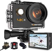 دوربین ورزشی Yolansin 4K Action 20MP 40M Waterproof EIS Sport Sports with 170 ° Wide Angle Ultra HD DV دوربین فیلمبرداری با کنترل از راه دور 2.4G 2 باتری نصب لوازم جانبی