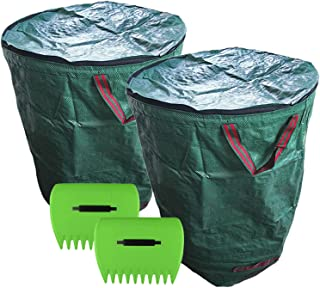 Reusable Garden Waste Bags with lid 272L/300L/400L/500L, 2 PCS Garden Waste Bags and 2 Pair Lawn Claws,for Collecting Leav...