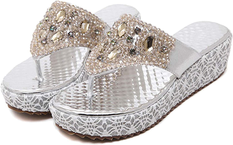 ZHOUZJ Fashion Summer Wedge shoes Women's Slippers Rhinestone Beach Flip Flops Ladies Sweet gold Wedge Heels