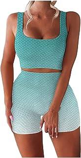 Fossen 2 Piezas Camisetas Interiores Deportivas, Mujer Yoga Traje Entrenamiento para, Gym Mallas de Yoga Sin Costuras y Su...