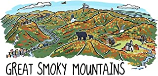 Great Smoky Mountains, Tennessee - Line Drawing - Fall Version (9x12 Art Print, Wall Decor Travel Poster)