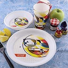 Emoji Plastic Dinnerware Plate Bowl Mug Set -3Pcs Breakfast Set