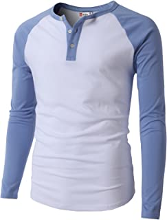 H2H Men's Casual Slim Fit Henley Shirt Long Sleeve Lightweight Cotton T-Shirts