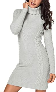 Womens Winter Cozy Casual Cable Knit Slim Sweater Jumper Dress