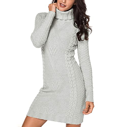7bfaf4ad551b Dokotoo Womens Winter Cozy Casual Cable Knit Slim Sweater Jumper Dress
