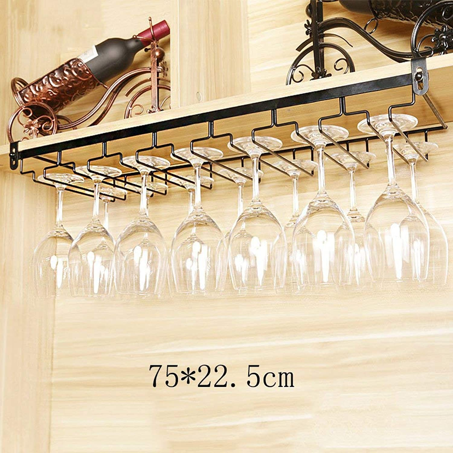 Wine Rack Shelf Glass Rack (color   Black, Size   55  22.5cm) (color   Black, Size   65  22.5cm)