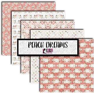 CSDS Vinyl Peach Dreams Vinyl Bundle Pack, Floral Vinyl, Floral Printed Vinyl, Heat Transfer Vinyl, Flower Printed HTV Multipack (Heat Transfer Vinyl)