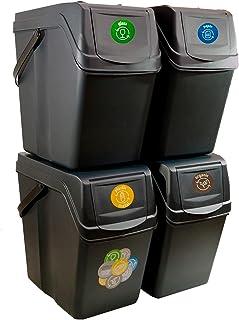 Prosperplast Lot de 4 cubes de recyclage 100 l Sortibox en plastique de couleur anthracite, 4 x 25 l