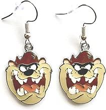 Looney Tunes Tasmanian Devil Taz Charm Cartoon Character Dangle Hook Earrings With Gift Box