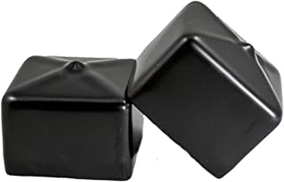 Prescott Plastics 8 Pack: Square Black Vinyl End Cap, Flexible Pipe Post Rubber Cover (1.50