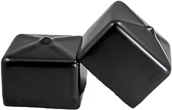 Prescott Plastics 1 1/2 Inch Square Black Vinyl End Cap, Flexible Pipe Post Rubber Cover ((A) Pack of 4 Caps)