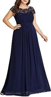 Ever-Pretty Abiti da Sera e Cerimonia Taglie Forti Donna Elegante Chiffon Stile Impero Vestiti da Damigella d'Onore 09993