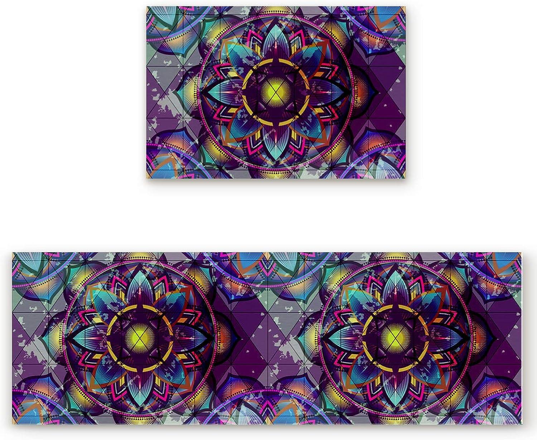 Savannan 2 Piece Non-Slip Kitchen Bathroom Entrance Mat Absorbent Durable Floor Doormat Runner Rug Set - Purple Mandala Pattern
