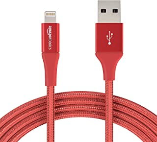 AmazonBasics Double Braided Nylon Lightning to USB A Cable, Advanced Collection - MFi Certified iPhone Charger - Red, 10-Foot