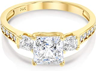 14k Solid Yellow OR White Gold 1.5 Ct. Cubic Zirconia CZ 3 Stone Princess Cut Engagement Ring Band