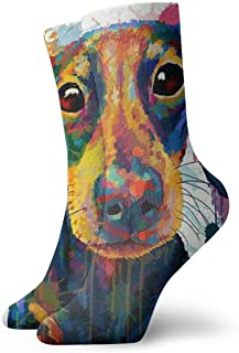 Socks Watercolor Daschund Face Funny Mens Womens Athletic Crew Socks for Men Cushion Casual Sports Workout Sock