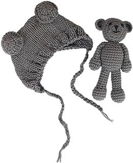 Jastore Infant Newborn Photography Prop Photo Crochet Boys Girls Knit Toy Bear Hats (Grey)