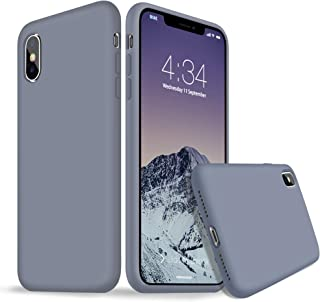 iPhone X Case, iPhone Xs Silicone Case, Xperg Slim Liquid Silicone Gel Rubber Shockproof Case Soft Microfiber Cloth Lining Cushion Compatible with Apple iPhone X/XS 5.8 inch (Lavender Gray)
