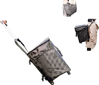 Shopping Bag With Wheels Backpack Straps - Fineget Folding Utility Trolley Grocery Cart Telescoping Handle for Women Trave...