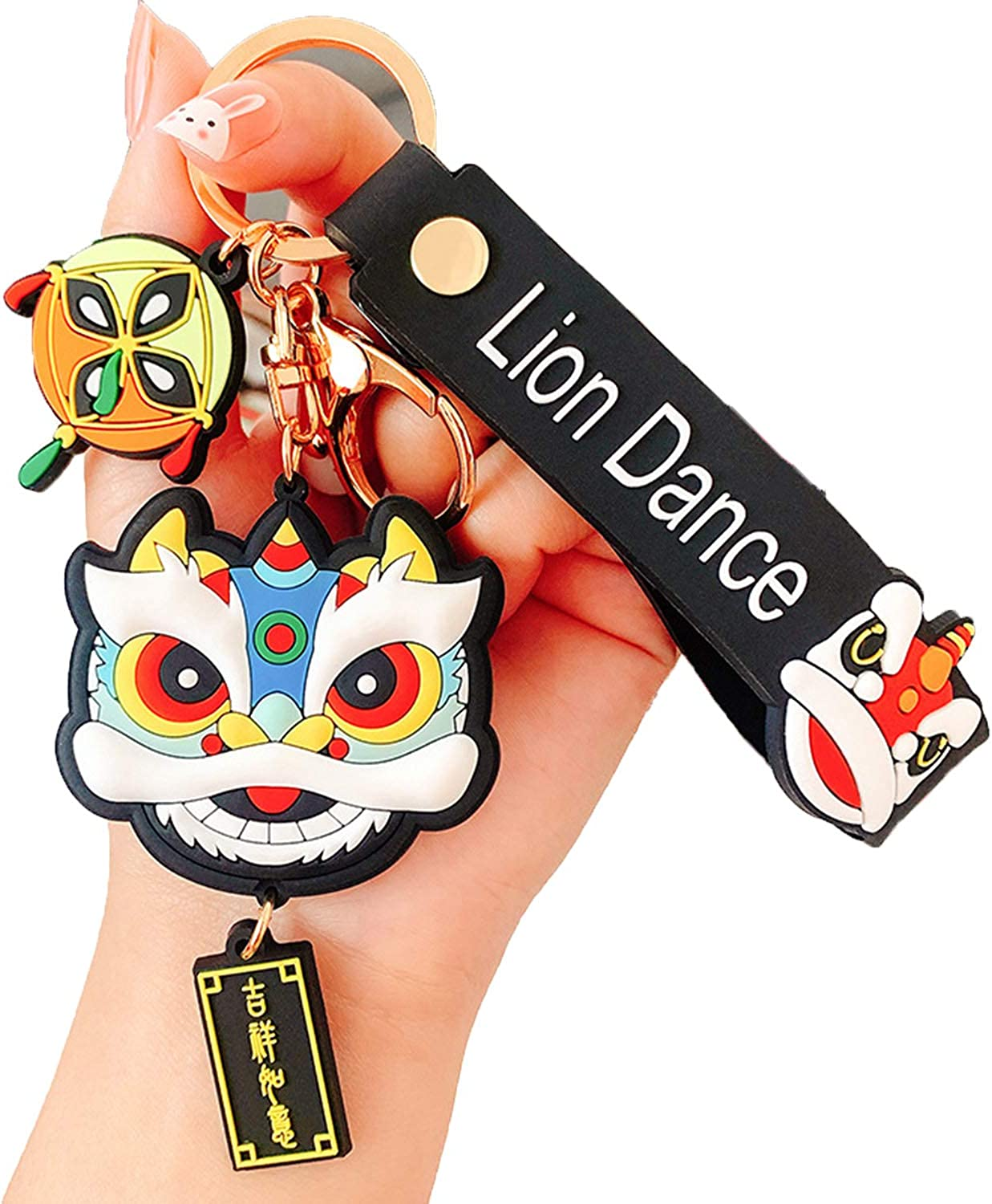 Personality Chinese Style Keychain Chain Trendy Fashion Lion Dance Bag Pendant Couple Accessories Creative Gift New Year Gift