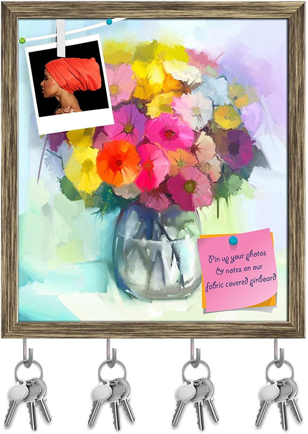 Artzfolio Still Life of Yellow & Red Gerbera Flowers D5 Key Holder Hooks   Notice Pin Board   Antique golden Frame 16 X 17.8Inch