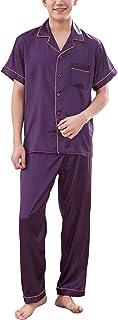Rojeam カップルシルクサテンパジャマ長袖パジャマパジャマ2セットホームサービスを設定します。