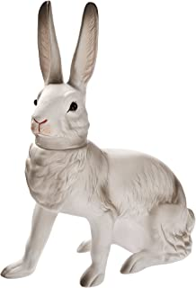 Large German paper-mache Easter rabbit candy container, sitting, white
