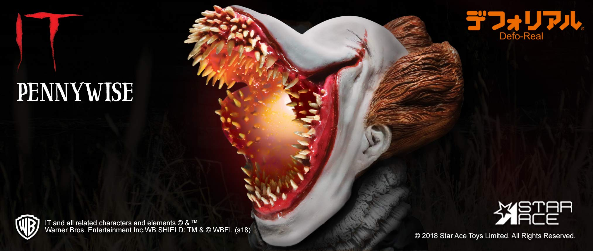 Amazon Com It Pennywise Scary Version With Light Defo Real Soft Vinyl Statue Toys Games