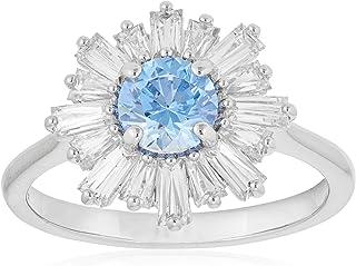 SWAROVSKI Women's Sunshine Ring, Blue, Rhodium plated