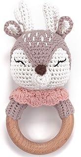 Olgs Beißring gehäkelte süße Reh mit integrierter Babyrassel, Greifling Spielzeug Beißring   Geschenk zur Geburt, Babyparty, Handmade für Baby & Kinder Junge/Mädchen Reh